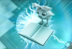 3d rabbit looking at book illustration Stock Photography