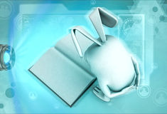 3d rabbit looking at book illustration Royalty Free Stock Images