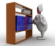 3d rabbit looking for file in file shelf concept Stock Photo
