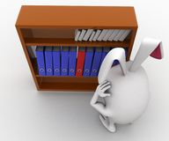 3d rabbit looking for file in file shelf concept Royalty Free Stock Images