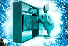 3d rabbit looking for file in file shelf illustration Stock Images