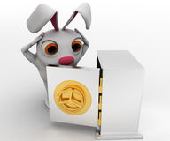 3d rabbit looking inside opened locker concept Royalty Free Stock Images