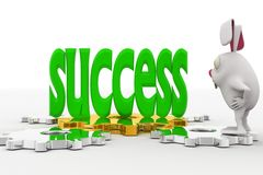 3d rabbit looking at success text in green on cog wheel concept Royalty Free Stock Photography