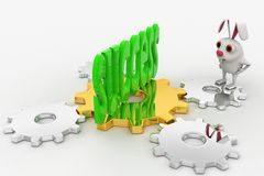 3d rabbit looking at success text in green on cog wheel concept Stock Image