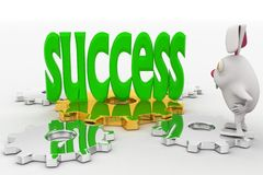 3d rabbit looking at success text in green on cog wheel concept Royalty Free Stock Image