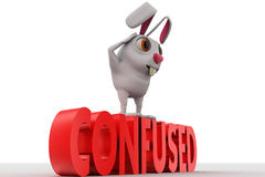 3d rabbit looks confused while standing on confused text concept Stock Images
