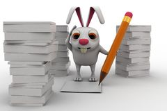 3d rabbit with lots of paper work and pencil concept Stock Images