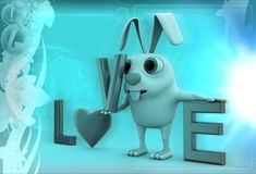 3d rabbit with love alphabets illustration Stock Image