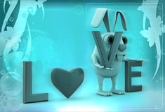 3d rabbit with love alphabets illustration Stock Photography