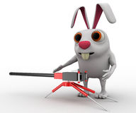 3d rabbit with machine gun concept Stock Photo