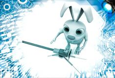 3d rabbit with machine gun illustration Royalty Free Stock Photo