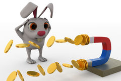 3d rabbit excited while seeing  magnet attracts coins concept Royalty Free Stock Images