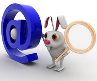 3d rabbit with magnifying glass and email icon concept Stock Image