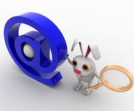 3d rabbit with magnifying glass and email icon concept Stock Photos