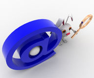 3d rabbit with magnifying glass and email icon concept Royalty Free Stock Photos