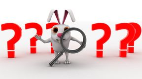 3d rabbit with magnifying glass and red question marks concept Royalty Free Stock Images