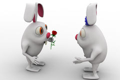 3d rabbit male propose to female rabbit and giving rose concept Royalty Free Stock Images