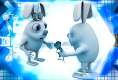 3d rabbit male propose to female rabbit and giving rose illustration Stock Photo