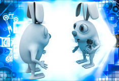 3d rabbit male propose to female rabbit and giving rose illustration Stock Images
