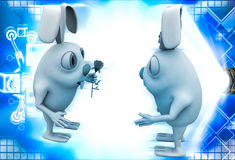 3d rabbit male propose to female rabbit and giving rose illustration Royalty Free Stock Image