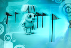 3d rabbit with so many flag around him illustration Royalty Free Stock Images