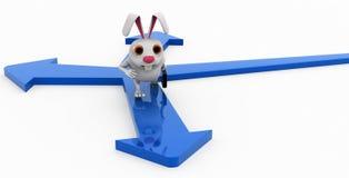 3d rabbit many path concept Stock Image