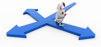 3d rabbit many path concept Stock Images