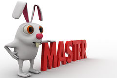 3d rabbit with master text concept Stock Photography