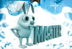 3d rabbit with master text illustration Royalty Free Stock Photos