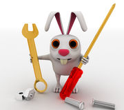 3d rabbit mechanical engineer with screw driver, wrench and nuts concept Royalty Free Stock Photo