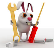 3d rabbit mechanical engineer with screw driver, wrench and nuts concept Stock Image