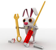 3d rabbit mechanical engineer with screw driver, wrench and nuts concept Royalty Free Stock Image
