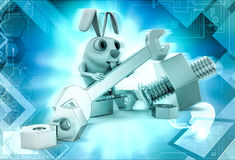 3d rabbit with mechanical tools illustration Stock Photography