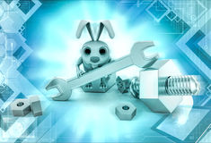 3d rabbit with mechanical tools illustration Royalty Free Stock Images