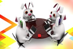 3d group of rabbit  meetting togheter illustration Stock Images