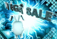 3d rabbit mega sale concept Stock Image