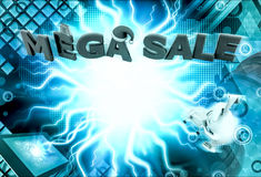 3d rabbit mega sale concept Royalty Free Stock Images