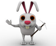 3d rabbit with minng tool concept Royalty Free Stock Image