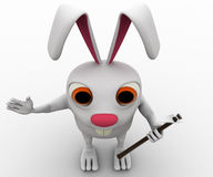 3d rabbit with minng tool concept Stock Image