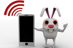 3d rabbit with mobile phone and wifi concept Stock Photos