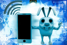 3d rabbit with mobile phone and wifi illustration Royalty Free Stock Photography