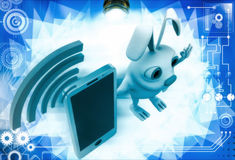 3d rabbit with mobile phone and wifi illustration Stock Image