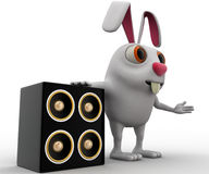 3d rabbit with musical speaker concept Stock Photography