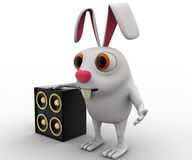 3d rabbit with musical speaker concept Stock Image