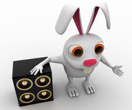 3d rabbit with musical speaker concept Royalty Free Stock Photos