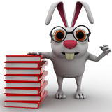 3d rabbit nerd wear spectacles and many books concept Royalty Free Stock Images