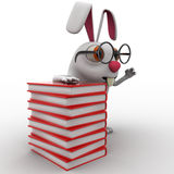 3d rabbit nerd wear spectacles and many books concept Royalty Free Stock Photography