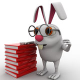 3d rabbit nerd wear spectacles and many books concept Stock Photo