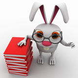 3d rabbit nerd wear spectacles and many books concept Stock Image