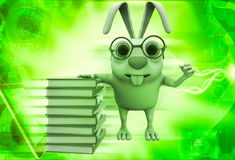 3d rabbit nerd wear spectacles and many books illustration Stock Photography